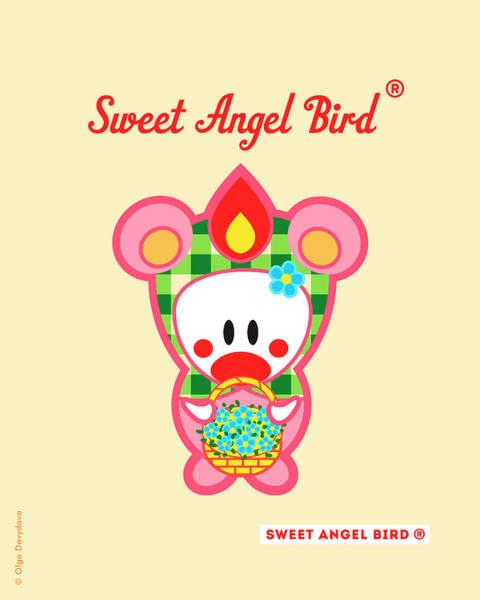 Cute Art - Sweet Angel Bird In A Bear Costume Holding A Basket Of Little Blue Flowers Wall Art Print Poster