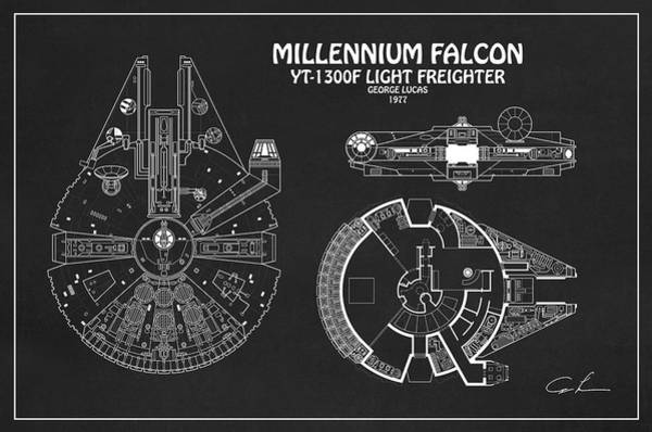 Diagram Illustration For The Millennium Falcon From Star Wars Poster