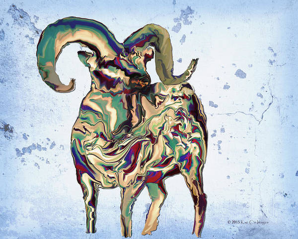 Digital Bighorn Ram Poster