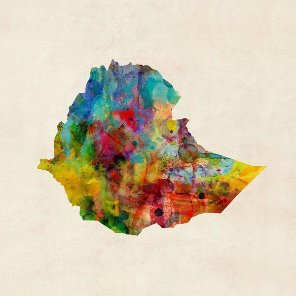 Ethiopia Watercolor Map Poster