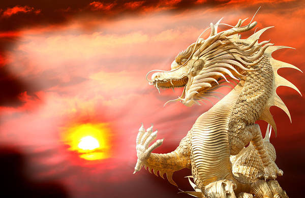 Giant Golden Chinese Dragon Poster