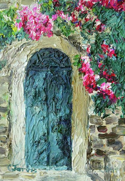 Green Italian Door With Flowers Poster