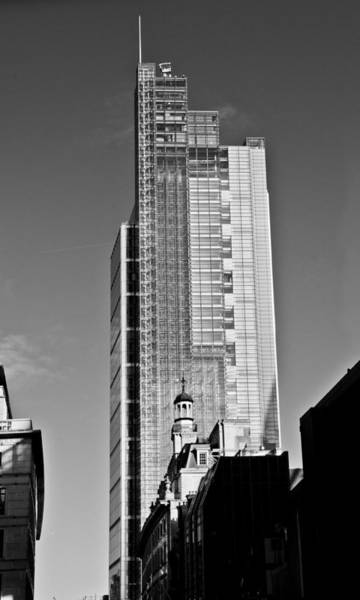 Heron Tower London Black And White Poster