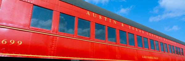 Historic Red Passenger Car, Austin & Poster