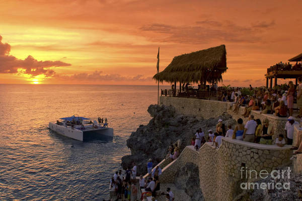 Poster featuring the photograph Jamaica Negril Ricks Cafe by Juergen Held