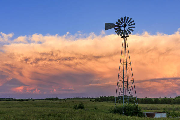 Kansas Windmill And Storm Poster