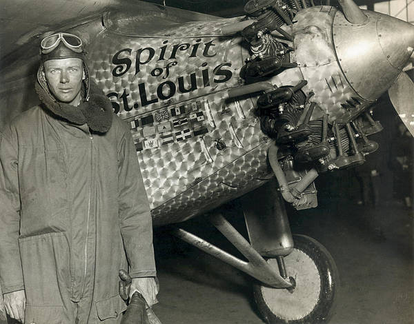Lindbergh With His Airplane, 1928 Poster