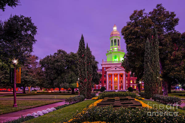 Morning Twilight Shot Of Pat Neff Hall From Founders Mall At Baylor University - Waco Central Texas Poster