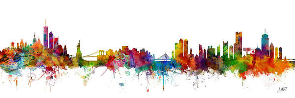 New York And Boston Skyline Mashup Poster