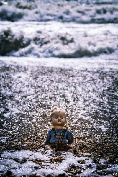 Old Doll On The Beach Poster