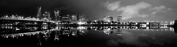 Portland Skyline Black And White Poster