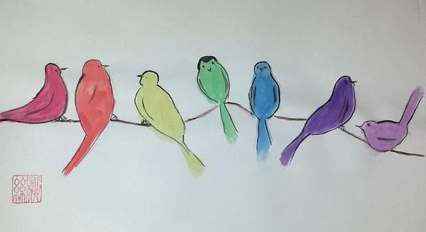 Rainbow Birds Poster