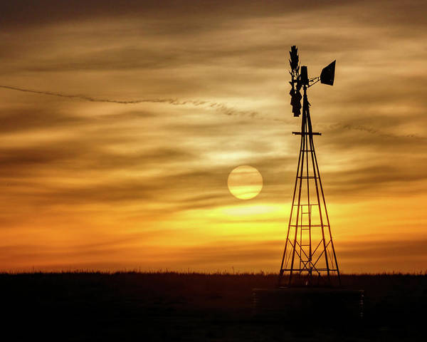 Poster featuring the photograph Sunset And Windmill by Rob Graham