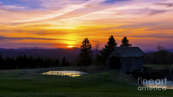 Sunset At The Foster Covered Bridge. Poster