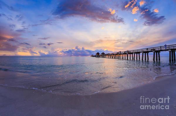 Sunset Naples Pier Florida Poster