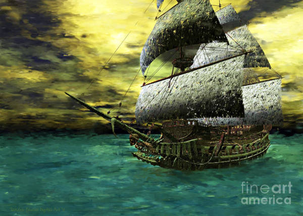 Poster featuring the painting The Flying Dutchman by Sandra Bauser Digital Art