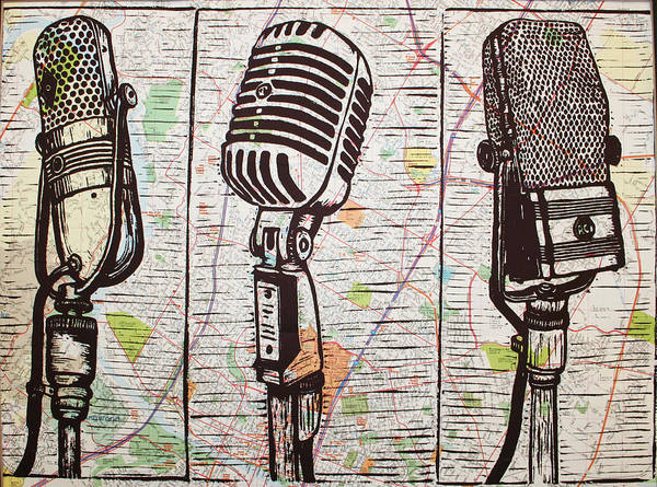 Three Microphones On Map Poster