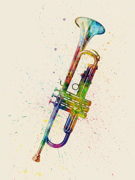 Trumpet Abstract Watercolor Poster