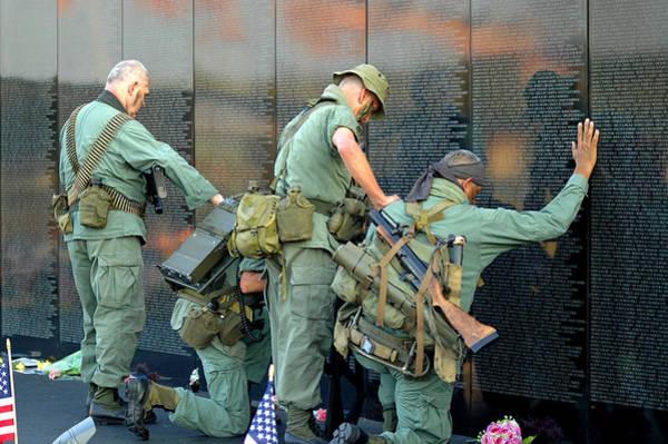 Veterans At Vietnam Wall Poster