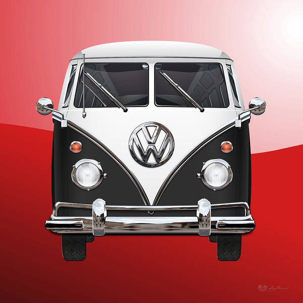 Volkswagen Type 2 - Black And White Volkswagen T 1 Samba Bus On Red  Poster