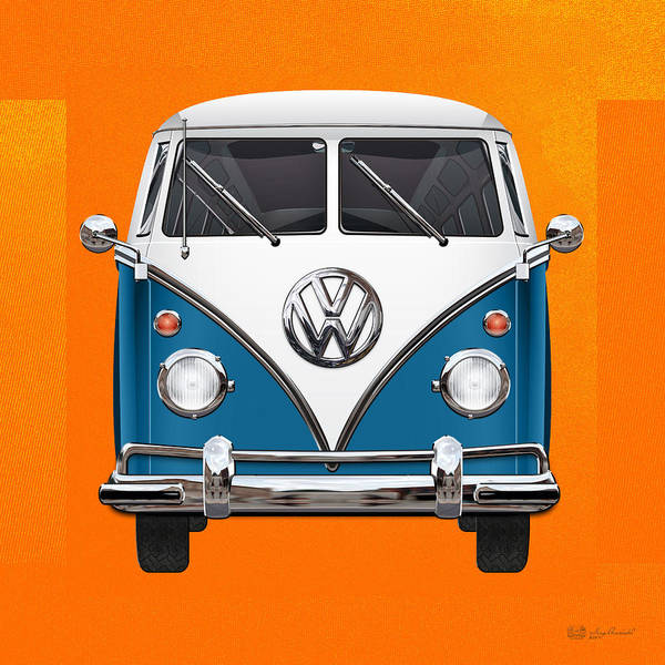 Volkswagen Type 2 - Blue And White Volkswagen T 1 Samba Bus Over Orange Canvas  Poster