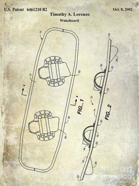 Wakeboard Patent Drawing Poster