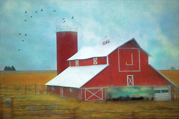 Winter Red Barn Poster