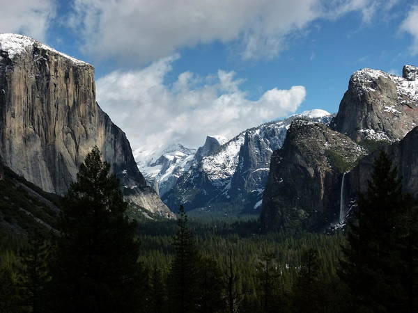 Yosemite Valley View In Winter Poster