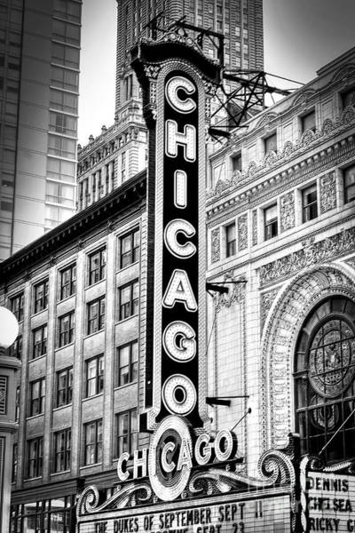 1077 Chicago Theater Black And White Poster