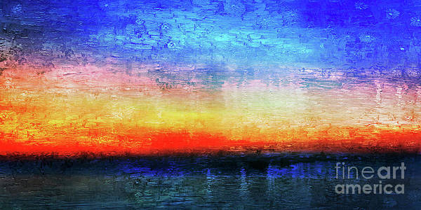 15a Abstract Seascape Sunrise Painting Digital Poster
