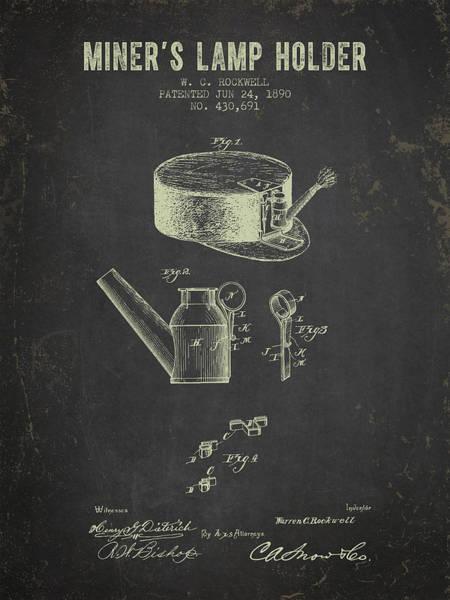 1890 Miners Lamp Holder - Dark Grunge Poster