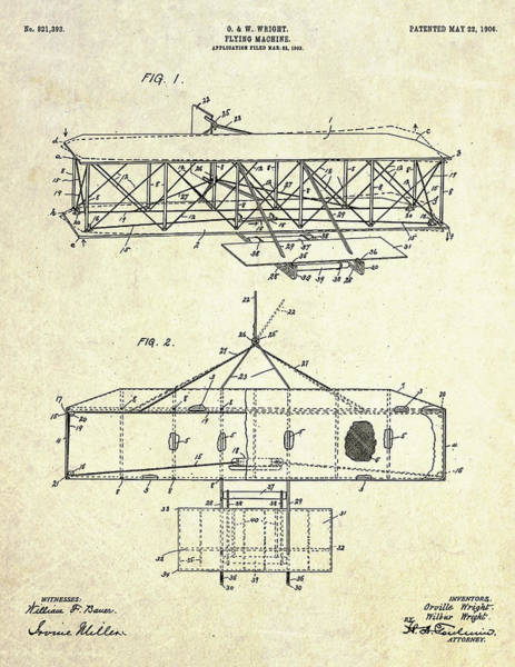 1906 Wright Brothers Patent Art S. 1-2 Poster