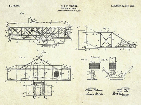 1906 Wright Brothers Patent Art S. 1-4 Poster