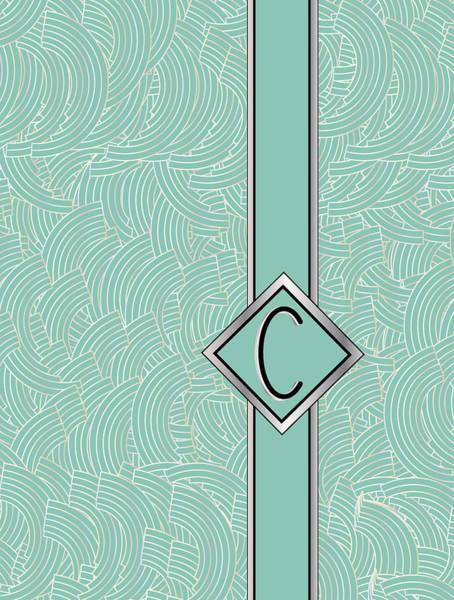 1920s Blue Deco Jazz Swing Monogram ...letter C Poster