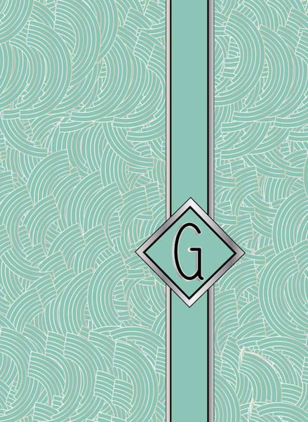 1920s Blue Deco Jazz Swing Monogram ...letter G Poster