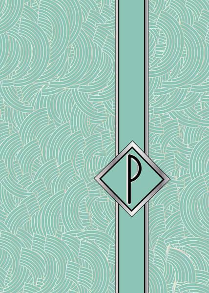 1920s Blue Deco Jazz Swing Monogram ...letter P Poster
