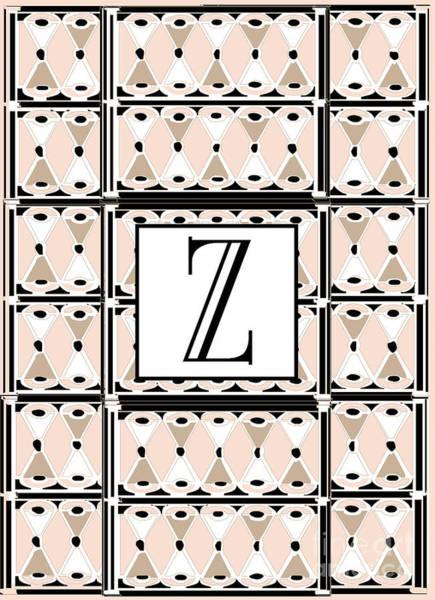 1920s Pink Champagne Deco Monogram  Z Poster