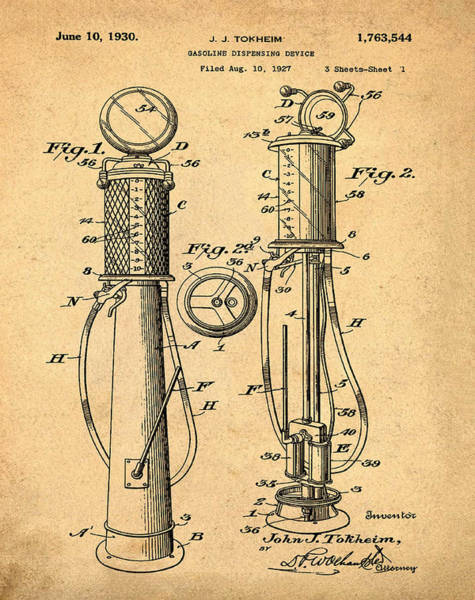 1930 Gas Pump Patent In Sepia Poster