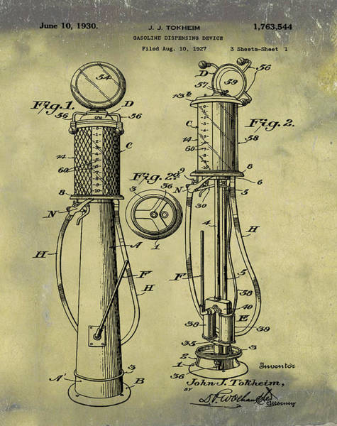 1930 Gas Pump Patent In Weathered Poster