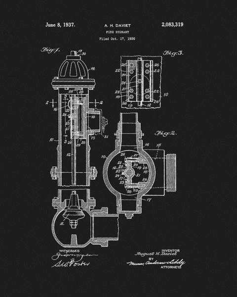 1937 Fire Hydrant Patent Poster