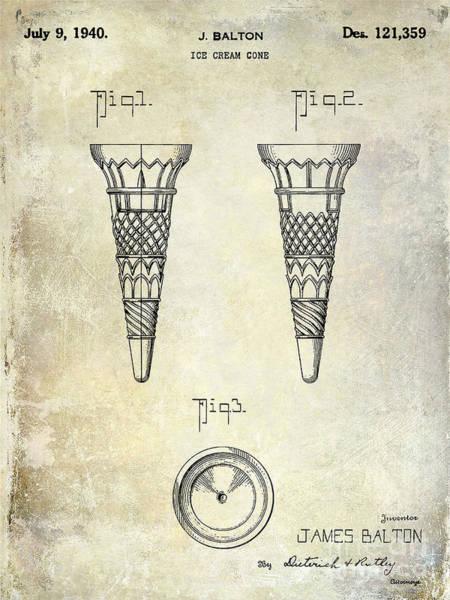 1940 Ice Cream Cone Patent Poster