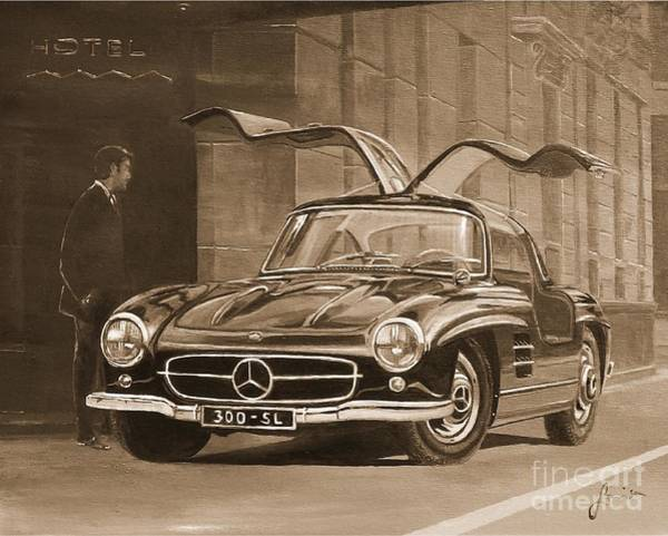 1954 Mercedes Benz 300 Sl  In Sepia Poster