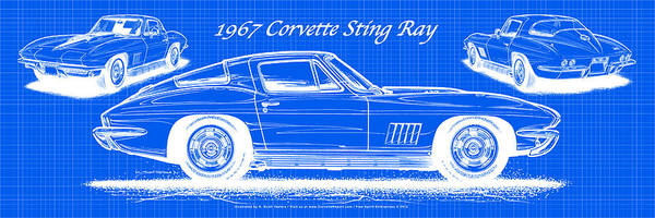 1967 Corvette Sting Ray Coupe Reversed Blueprint Poster
