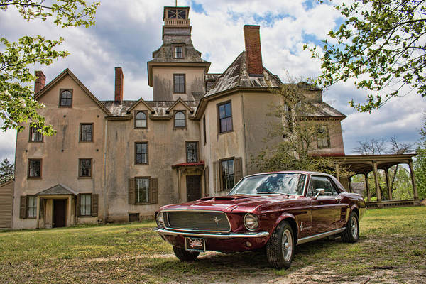1967 Mustang At The Mansion Poster