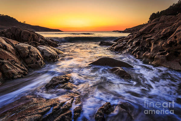 Sunset On Chanteiro Beach Galicia Spain Poster