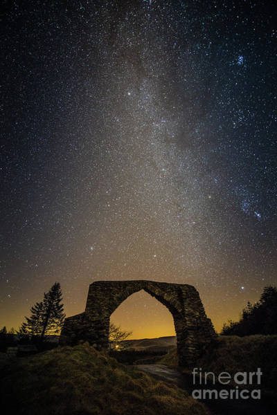 The Milky Way Over The Hafod Arch, Ceredigion Wales Uk Poster