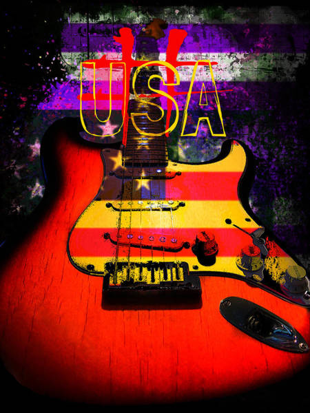 Red Usa Flag Guitar  Poster