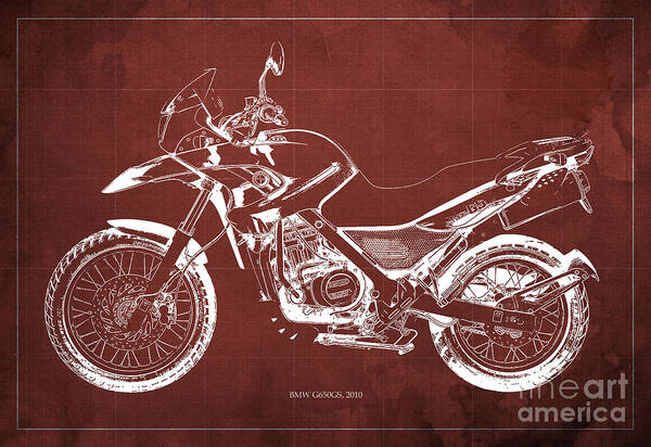 2010 Bmw G650gs Vintage Blueprint Red Background Poster