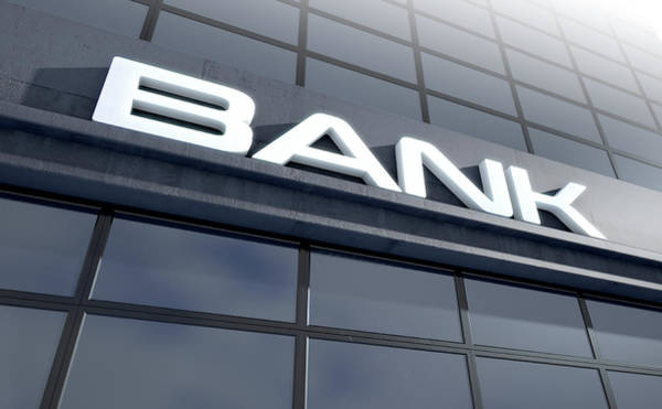 Glass Bank Building Signage Poster