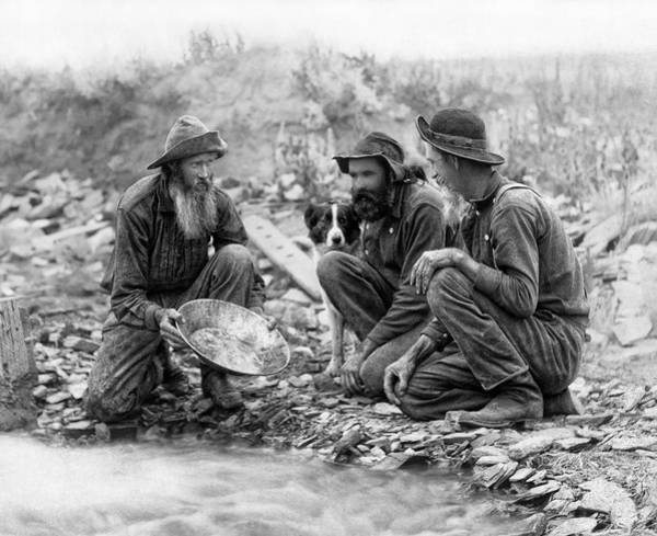 3 Men And A Dog Panning For Gold C. 1889 Poster